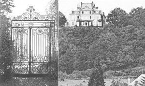 Grille de l'entré principale +Château sur la colline